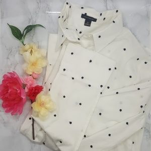 Ann Taylor Embroidered Dot 'Perfect' Shirt